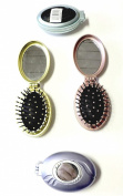 Compact Folding Hair Brush with 2 Mirrors Massage Detangling Air Rubber Cushion