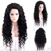 Hmy New Cosplay Black Long Afro Curly Heat Resistant Women's Hair Full Wig