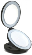 LED Lighted Makeup Mirror with 10x Magnifying Mirror - Double-Sided Luxury Folding Handheld Mirror Magnifies 10x on One Side and 1x on the Other
