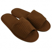 Waffle Open Toe Adult Slippers Cloth Spa Hotel Unisex Slippers for Women and Men Brown