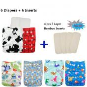 Baby Reuseable Pocket Cloth Nappy Nappy 6pcs+ 6 Inserts 6FB01
