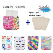Baby Reuseable Washable Pocket Cloth Nappy 6PCS+ 6 Inserts 6FG30