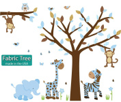 Fabric Safari Little Boy Blue Jungle Tree Wall Decals, Jungle Stickers with Blue Leaves