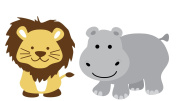 Hippo and Lion Wall Decals, Jungle Stickers