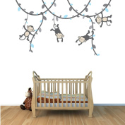 Blue and Grey Monkey Wall Decal for Baby Nursery or Kid's Room, Fabric Vine Decal