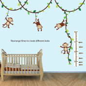 Green and Brown Monkey Wall Decal for Baby Nursery or Kid's Room with Growth Chart