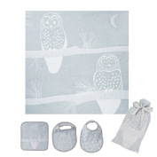 Breganwood Organics Muslin Swaddle, Bib & Wash Cloth Set, Grey Owl Prairie Collection, Designed By Harmony Art