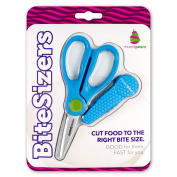 BiteSizers Portable Food Scissors (Blue Hex), Certified Food-safe, Stainless Steel