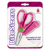 BiteSizers Portable Food Scissors (Pink Bubbles), Certified Food-safe, Stainless Steel