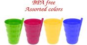 Green Direct Sip-A-Cup 300ml Plastic Cup with Builed in Straw for Kids Assorted Colours