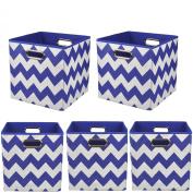 Modern Littles Organisation Bundle Storage Bins, Bold Blue Chevron, 5 Count