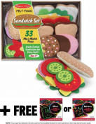 Sandwich Felt Food - Play Food Set + FREE Melissa & Doug Scratch Art Mini-Pad Bundle [39543]