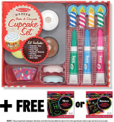 Bake and Decorate Cupcake Set - Play Food Set + FREE Melissa & Doug Scratch Art Mini-Pad Bundle [40198]