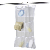 Quick Dry Hanging Caddy and Bath Organiser with 6-pocket, Hang on Shower Curtain Rod / Liner Hooks, Shower Organiser, Mesh Shower Caddy, Bathroom Accessories, Save Space in Small Bathroom Tub