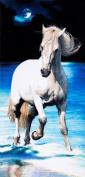White horse brazilian velour beach towel 80cm x 150cm