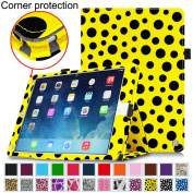Fintie iPad Air 2 Case [Corner Protection] - Slim Fit Leather Folio Case with Smart Cover Auto Sleep / Wake Feature for Apple iPad Air 2 (iPad 6) 2014 Model, Polka Dot Black/Yellow