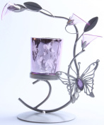 Silver & Purple Butterfly Lilly Candle Holder Metal Sculpture Home Wedding or Party Decor