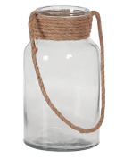 Hill's Imports Decorative Glass and Rope Lantern, Clear, 2.3kg