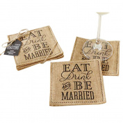 """Kate Aspen """"Eat, Drink and be Married"""" Burlap Coasters, Set of 2"""