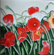 Continental Art Centre BD-0102 20cm by 20cm Red Abstract Poppy Flowers Ceramic Art Tile