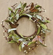 Rusty Butterfly & Herb Ring Mini Wreath Chocolate Brown Pips Greenery Country Primitive Floral Décor
