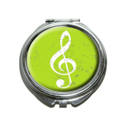 Vintage Treble Clef Music Green Compact Purse Mirror