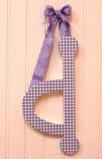 My Baby Sam 23cm Lavender Gingham Hanging Letter, D