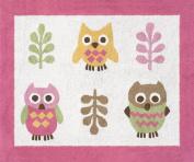 Pink Happy Owl Accent Floor Rug