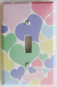 Pastel Heart Light Switch Plate Cover in pink, blue, purple, yellow, and green