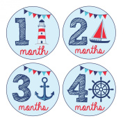 Pinkie Penguin Baby Monthly Stickers - Nautical Theme - Baby Boy - 1-12 Months - Milestone Onesie Stickers -Baby Shower Gift
