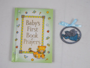 Baby's First Book of Prayers and 6.4cm X 2.5cm Guardian Angel Crib Medal Blue Ribbon