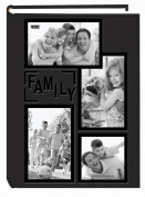 "Pioneer Collage Frame Embossed ""Family"" Sewn Leatherette Cover 300 Pocket Photo Album, Black"