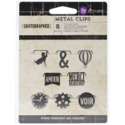 Prima Marketing Cartographer Metal Paper Clips, 8-Pack