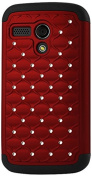 Reiko Diamond Hybrid Protector Cover for Motorola Moto G - Retail Packaging - Black Red