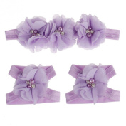 Coromose Colourful Foot Flower Barefoot Sandals + Headband Set for Baby Infants Girls