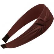 Romantic Side Knot Wide Headband - Brown