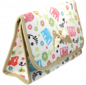 Cosmetic Bag with a Mirror, Cotton Fabric, Large Size, Elephants
