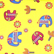 Cosmetic Bag with a Mirror, Cotton Fabric, Small Size, Elephant/Yellow Background