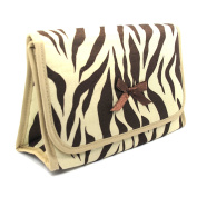 Cosmetic Bag with a Mirror, Cotton Fabric, Small Size, Zebra Print