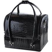 "AW Black 11x 9"" x 25cm Crocodile Makeup Cosmetic Train Bag Handbag Case w/ Removable Tray Jewellery Ring"