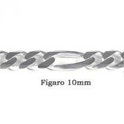 Sterling Silver 10MM Figaro Chain with Lobster Clasp Closure