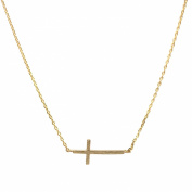 Spinningdaisy Handcrafted Brushed Metal Sideway Cross Necklace