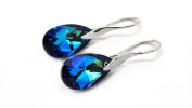 Sterling Silver 925 Blue Made with. Elements Drop Pierced Earrings for Women