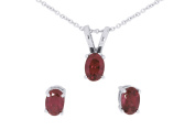 1.55 Ct Garnet Oval Design Sterling Silver Stud Earrings and Pendant with Chain Set