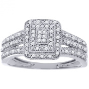 10K White Gold Round Cut Diamond Pave Ring 3 Row Band .15 Cttw