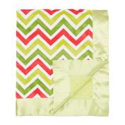 My Blankee Chevron Multi with Minky Dot Velour Baby Blanket, Watermelon/Lime/Apple Green, 80cm x 90cm