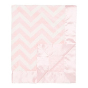 My Blankee Chevron with Minky Dot Velour Baby Blanket, Pink/White, 80cm x 90cm