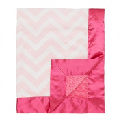 My Blankee Chevron with Minky Dot Velour Baby Blanket, Pink/White/Raspberry, 80cm x 90cm