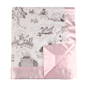My Blankee Bed Time Story with Minky Dot Velour Baby Blanket, Silver/Pink, 80cm x 90cm