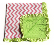 Baby Minky Receiving Blanket - Light Pink and Lime Chevron